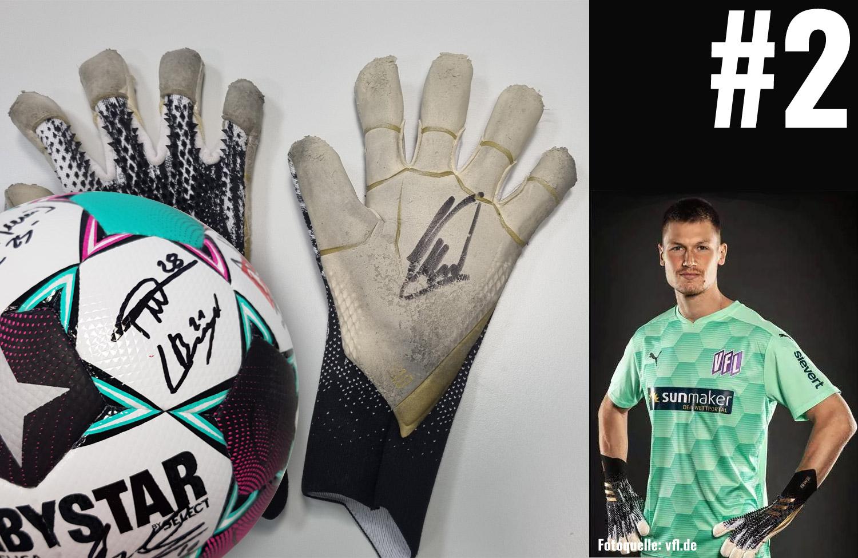 Aktuell: Signierte Torwarthandschuhe von Moritz Nicolas plus Ball mit Unterschriften